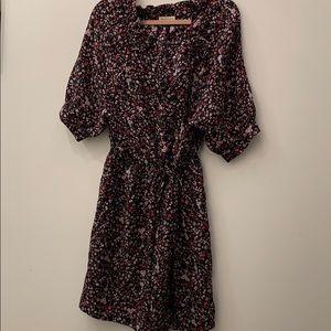 Rebecca Taylor black floral silk dress